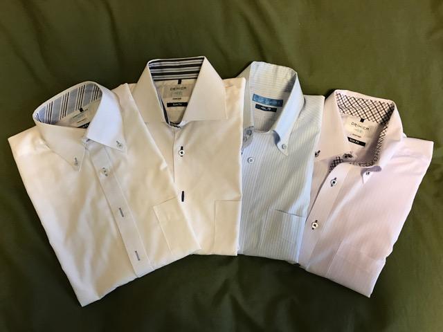 襟に柄の入ったワイシャツ