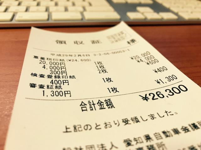 法定費用の領収書