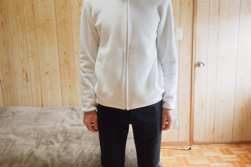 ユニクロのフリースフルジップジャケット(長袖)。着心地