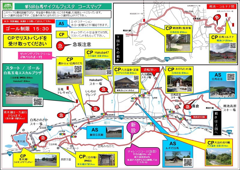 第5回白馬サイクルフェスタの前夜祭と大会に参加。コースマップ
